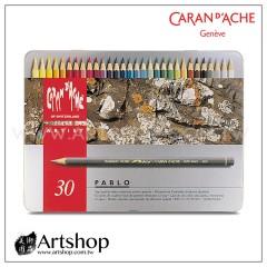 瑞士 CARAN D'ACHE 卡達 PABLO 專家級油性色鉛筆 (30色) 銀盒