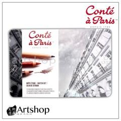 法國 Conte 康緹 綜合素描炭精筆組 12支入 鐵盒 (2186)