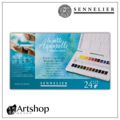 法國 SENNELIER 申內利爾 學生級 塊狀水彩寫生調色盤 24色半塊 131681.00