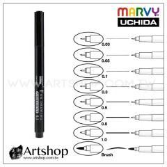 日本 UCHIDA MARVY 380 油性代針筆 (0.03-1.0mm、B) 8款可選