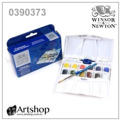 英國 WINSOR&NEWTON 溫莎牛頓 Cotman 塊狀水彩 (12色) 白盒PLUS套裝 0390373