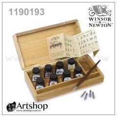 英國 WINSOR&NEWTON 溫莎牛頓 蟲膠彩色防水墨水 14ml (8色) 經典木盒套組 1190193