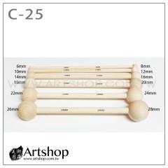 陶藝工具 雕塑用具 雙頭圓球棒 木丸棒 (6支入) C-25